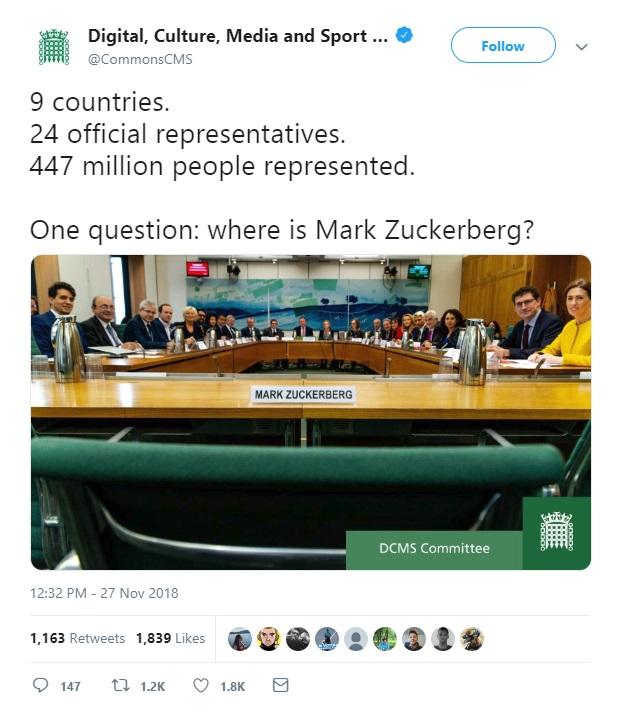 DCMS Zuckerberg